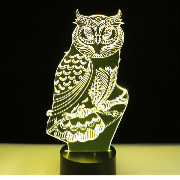 7 Color Changing Visual Animal Owl 3D LED Nightlight Table Lamp Baby Sleep Light For Home Bedroom Bedside Decoration Art Gifts