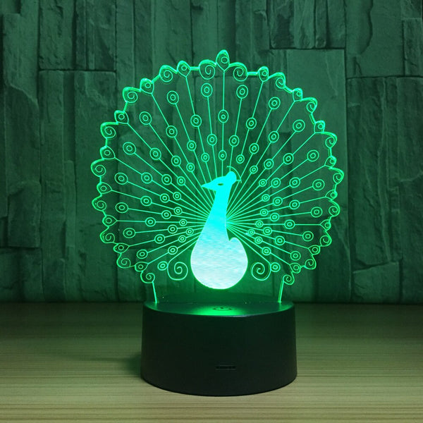 3D Led Bedside Night Light Shape Animal Peacock Usb Table Lamp 7 Color Change Home Decor Bedroom Sleep Lighting Fixture Gifts