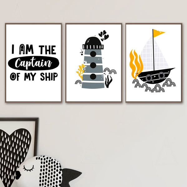 Wall Art Prints Nordic Posters Cartoon Lighthouse Ship Captain Seaweed Canvas Painting Modular Pictures Kids Room Home Decor
