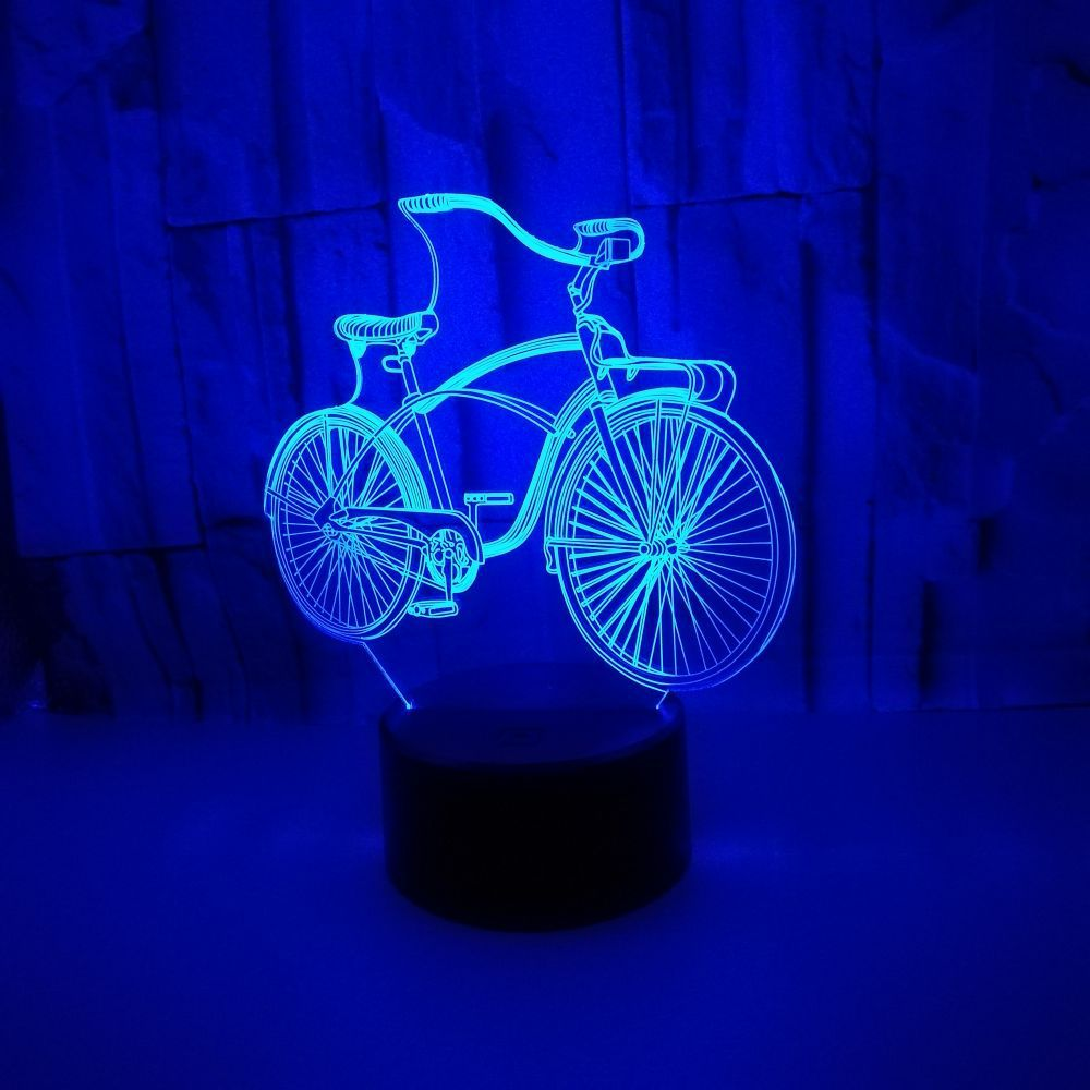 7 Color Changing Visual Bike Model 3D LED Nightlight Table Lamp Optical Illusion Sleep Light Home For Bedroom Bedside Decoration