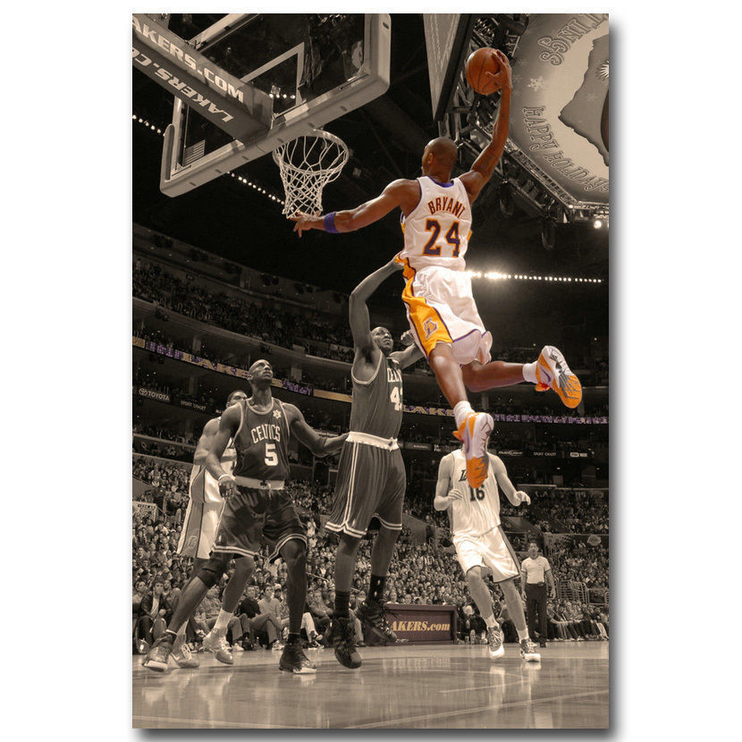 Q1669 Posters and Prints Kobe Bryant Dunks Basketball Cloth Art Poster Canvas Painting Home Decor