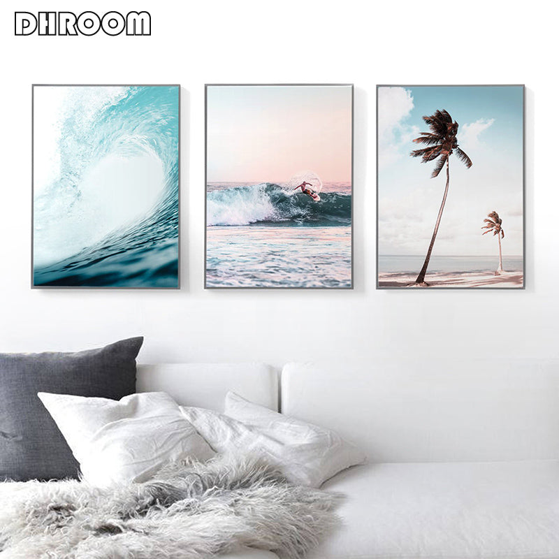 Nordic Landscape Surf Poster Wall Art Aerial Beach Ocean Wave Prints Palm Tree Canvas Painting Wall Picture for Living Room