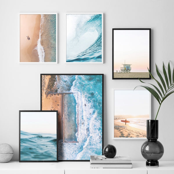 Sea Beach Wave Girl Surfboard Landscape Wall Art Canvas Painting Nordic Posters And Prints Wall Pictures For Living Room Decor