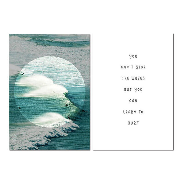 Surfer Posters Wall Art Print Ocean Beach Waves Coastal Canvas Painting Inspirational Quote Surfing Gift Wall Picture Decoration