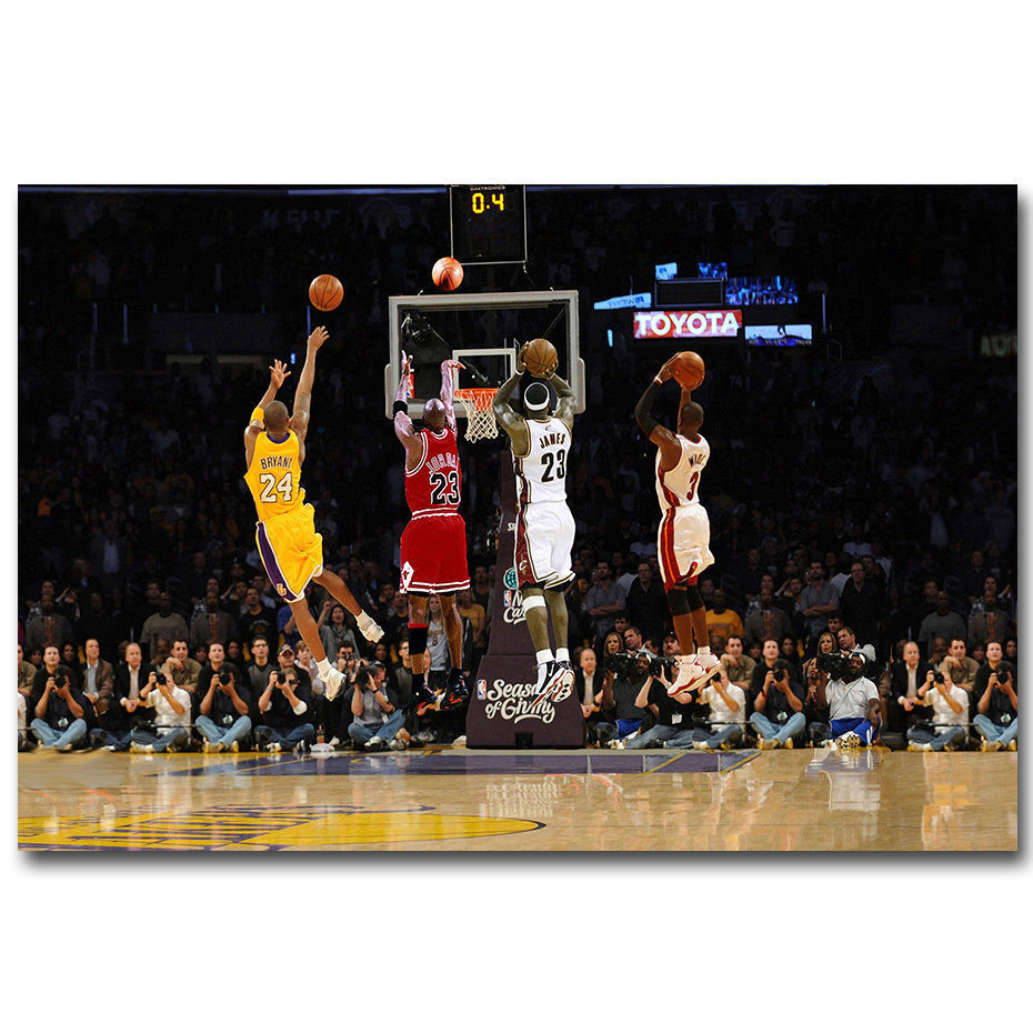 Q1438 Posters and Prints Michael Jordan Kobe Bryant LeBron James MVP Cloth Art Poster Canvas Painting Home Decor