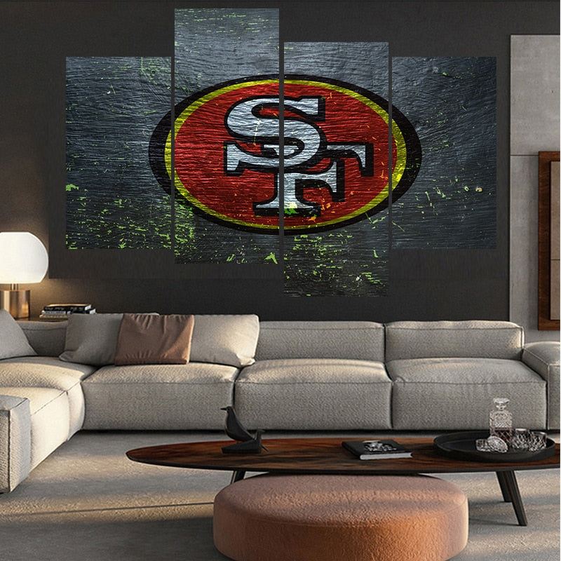 4 Pcs Ball  Sport Poster San Francisco Team Paintings Wall Home Decor 49ers Canvas Painting Calligraphy For Living Room Bedroom