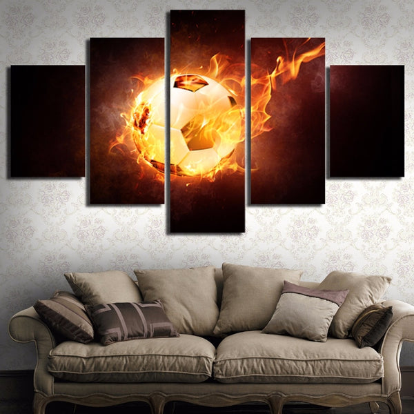 Wall Art Canvas Painting Style Wall Modular Pictures 5 Panel Flame Soccer For Living Room Modern Decoration Paintings YGYT