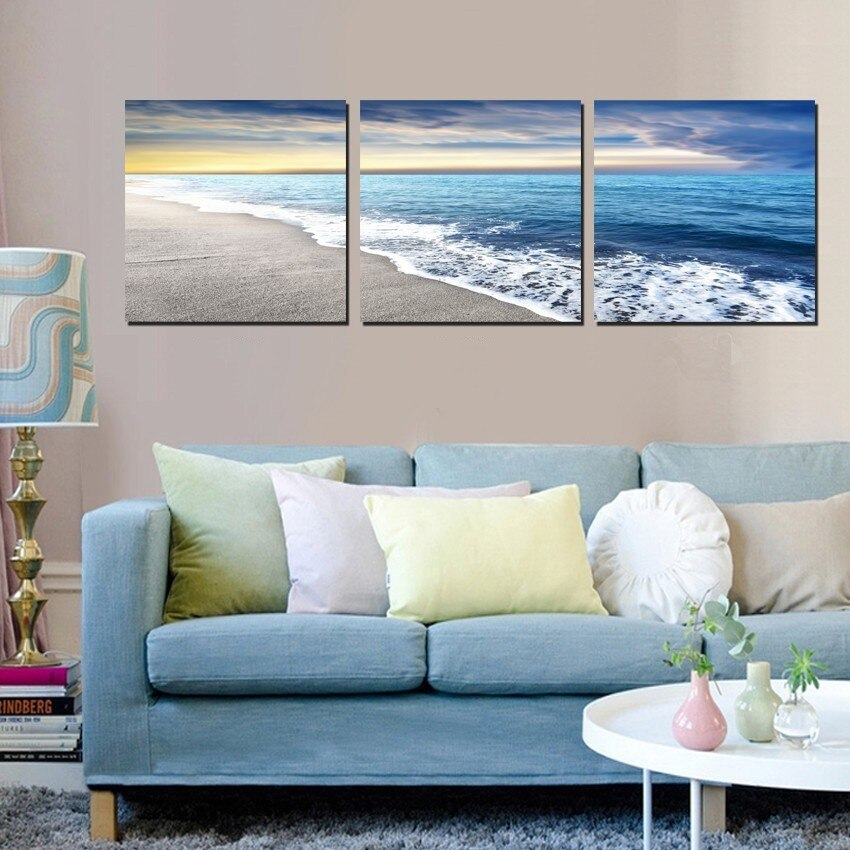 3 Panels Wall Art Pictures Beach Sandy Sea Wave Seascape Oil Painting On Canvas For Room Decor Modern Living Room No Framed