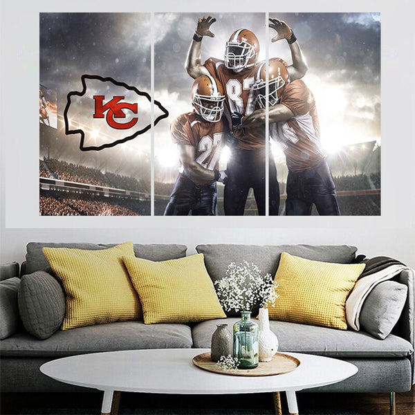 3 Pcs Sport Team Poster Chiefs Paintings Wall Home Decor Kansas City Picture Canvas Painting Calligraphy For Living Room Bedroom