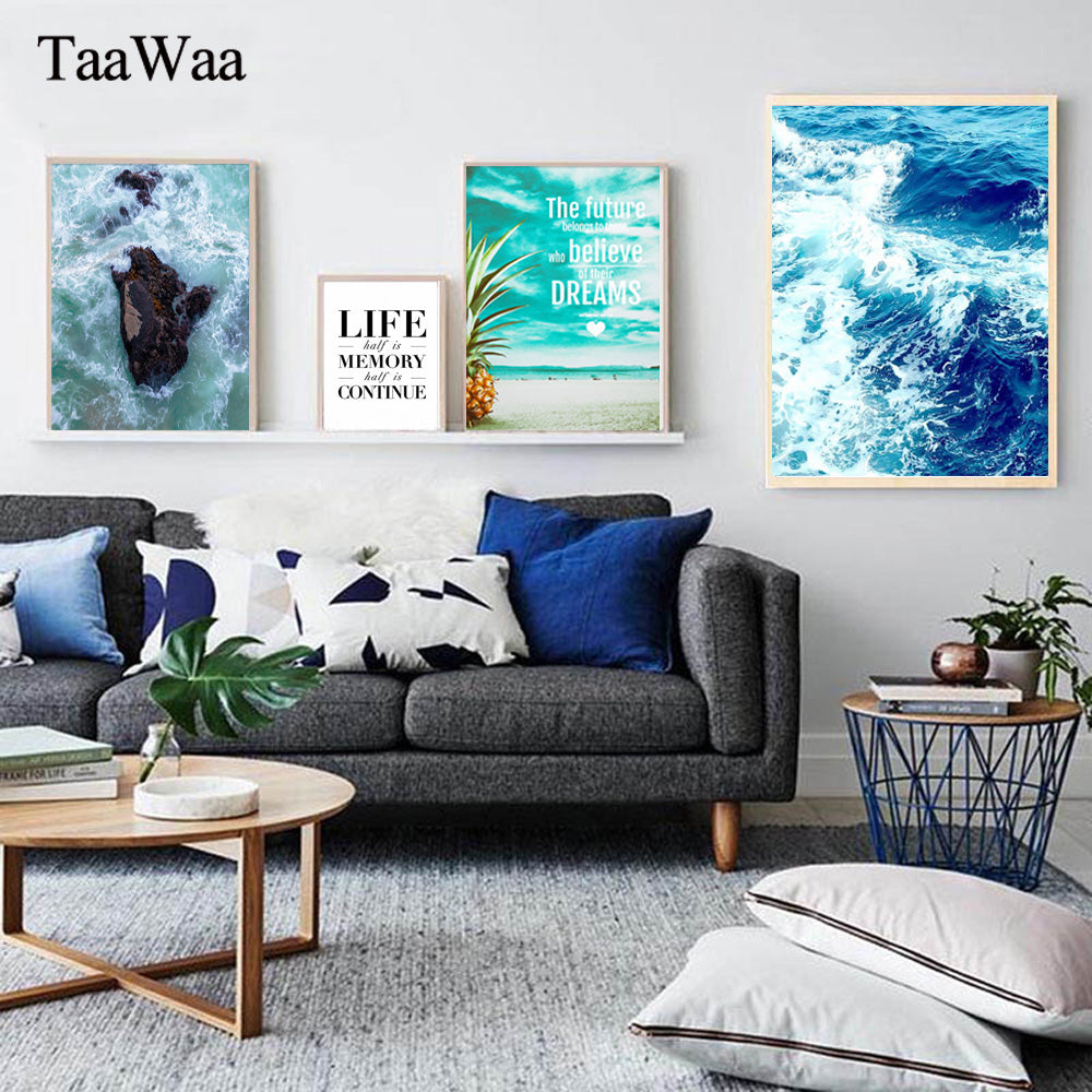TAAWAA Nordic Art Seascape Posters Canvas Painting of Ocean Beach Wave Sea Wall Picture Quote for Living Room Modern Home Decor