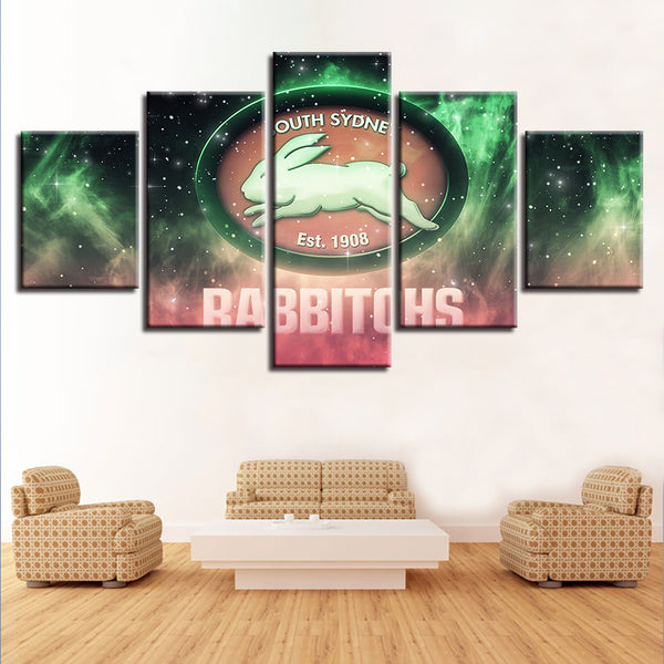 Prints Art Pictures House HD Fashion Painting 5 Panel Australian Football Canvas Home Cafe Decor Wall Modular Sport Poster