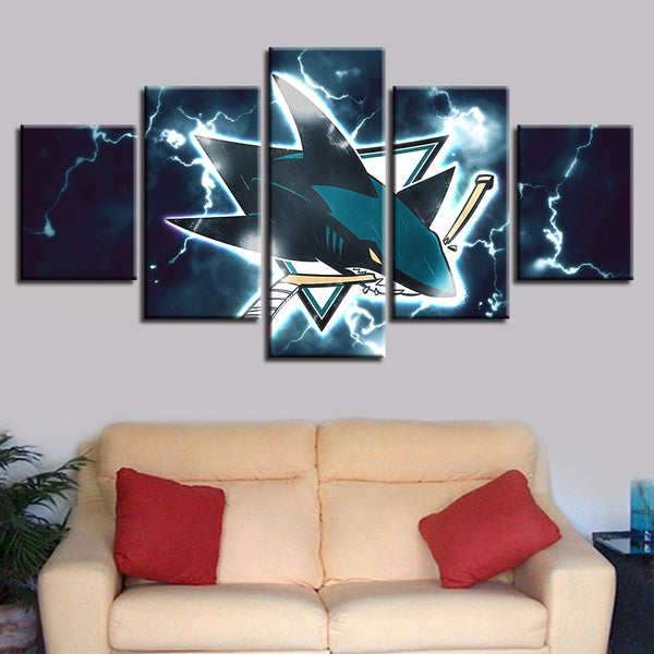 Modular Pictures Artwork Sport Modern Prints Home Decor 5 Pcs Ice Hockey Poster Wall Art Canvas Painting Bedside Background