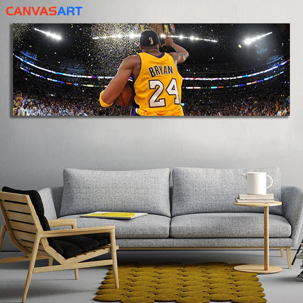 Canvas Art Pictures Basketball superstar Kobe Bryant Lakers championship Wall Art Canvas Poster for Living Room Home Decor