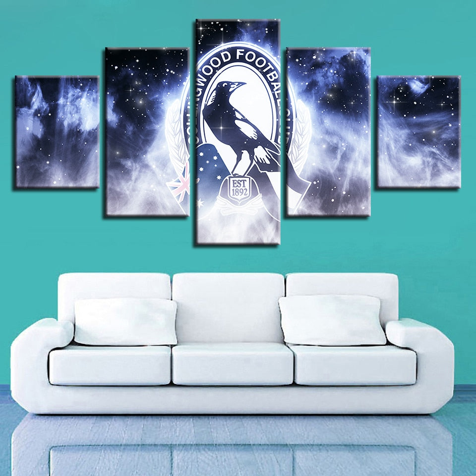 Art Canvas House Spray Frame 5 Pcs Football Club Logo Modern Wall Pop Painting Prints Home Decor Modular Hang Pictures Poster