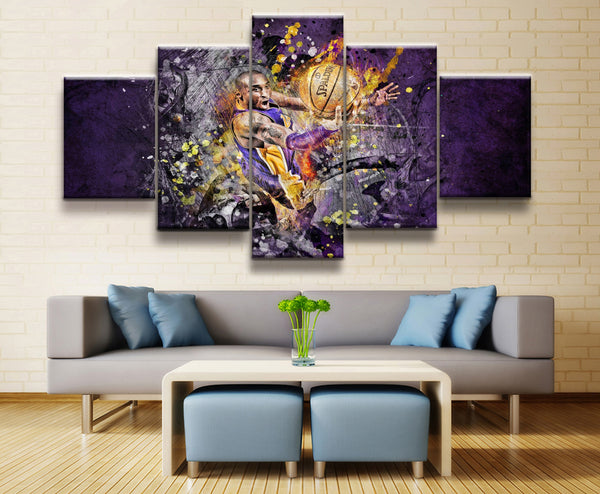 5 Panel NBA Kobe Bryant Basketball Poster Canvas Printed Painting For Living Room Wall Art Decor HD Picture Artworks Poster