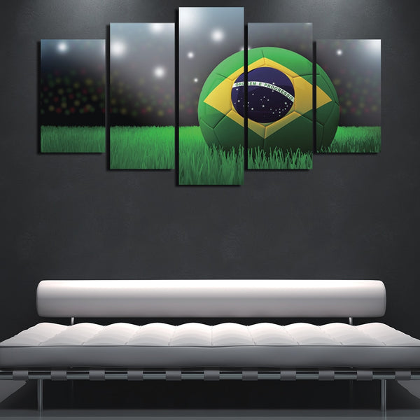 HD Printed Abstract 5 Panel Soccer Landscape Painting Canvas Print Room Decor Frameworked Poster Modular Picture Canvas YGYT