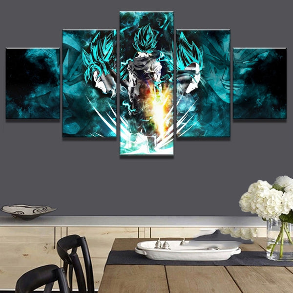 Canvas Painting Prints 5 Pieces Cartoon Dragon Ball Z Pictures Goku Ride Shenron Poster Wall Art Modular Home Decor Living Room