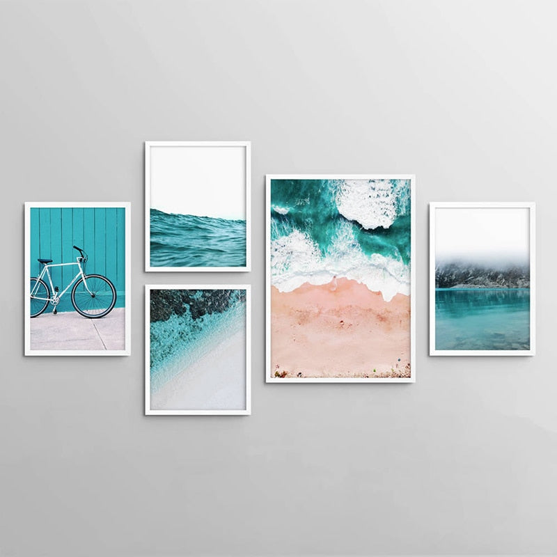 Coastal Beach Landscape Poster Print Blue Green Ocean Bike Wall Art Painting Canvas Pictures for Living Room Nordic Decoration