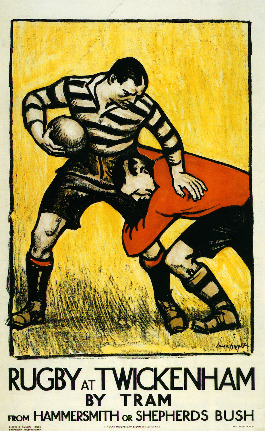 Vintage Advertising Poster Rugby at Twickenham Sports Classic Canvas Paintings Wall Posters Stickers Home Decor Gift