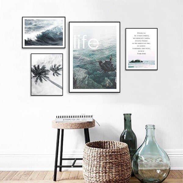 Landscape Wall Art Canvas Poster Sea Ocean Beach Print Nordic Style Painting Decorative Picture Modern Living Room Decoration