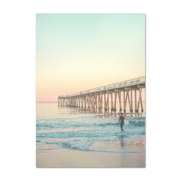 California Surf Art Prints Beach Wall Art Summer Print Sunset Landscape Canvas Painting Surfboard Boho Decor Coastal Posters