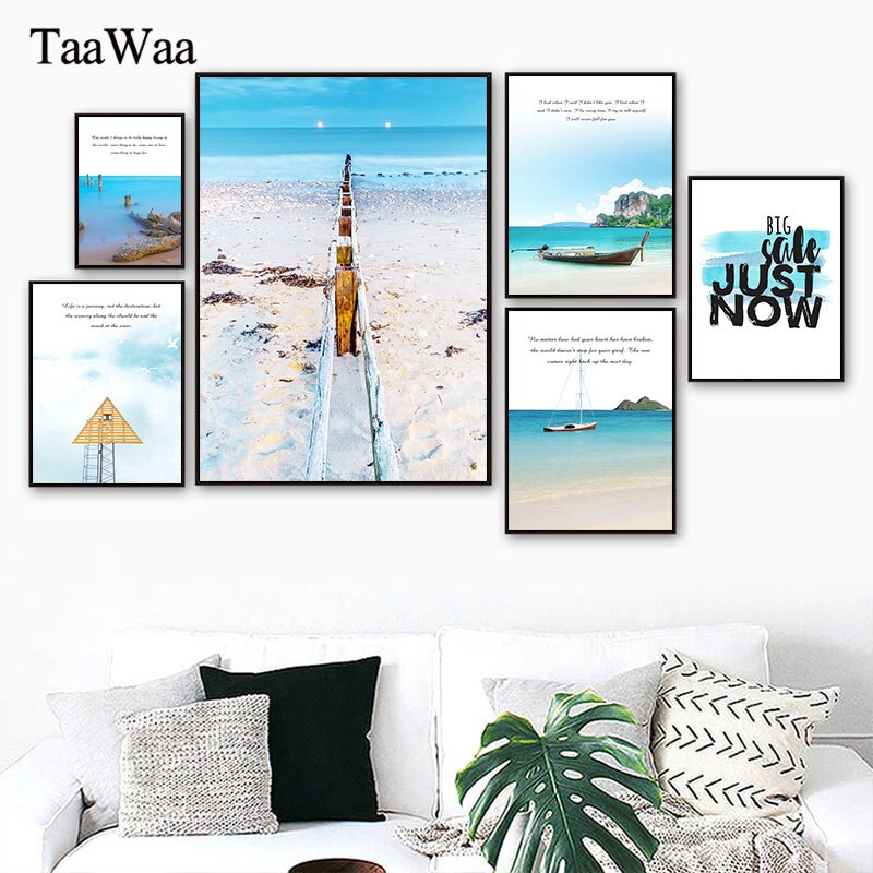 Canvas Wall Art Decoration Landscape Poster Prints Ocean Sea Beach Picture Nordic Scandinavian Modern Painting Living Room Decor