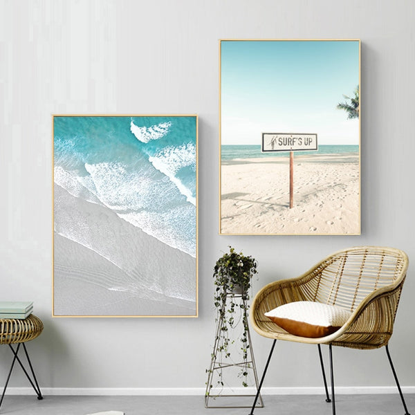 Boat Ocean Waves Overhead Picture Nature Scandinavian Poster Nordic Decoration Sandy Beach Bus Print Wall Art Canvas Painting