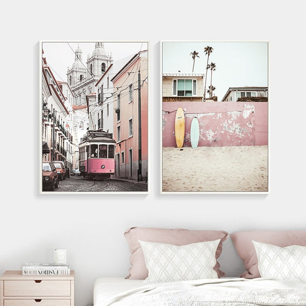 Landscape Canvas Poster Nordic Decoration Bus Ocean Beach Wall Art Print Painting Decorative Picture Scandinavian Home Decor