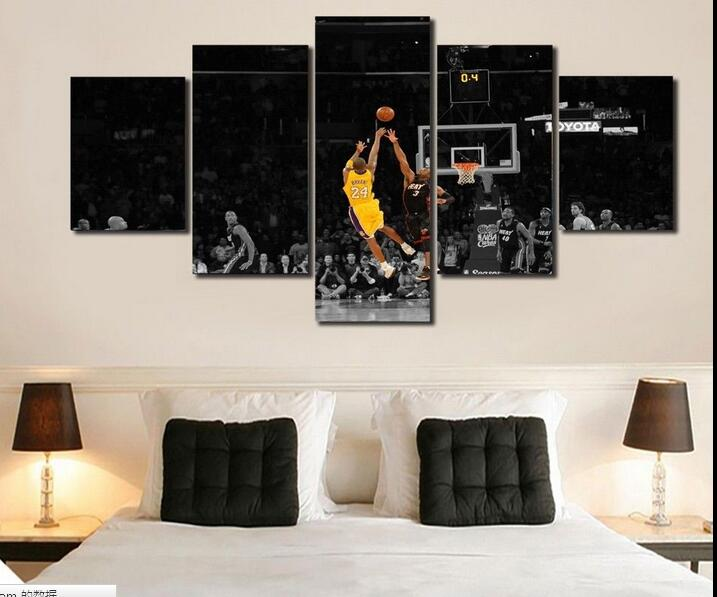 Framed Kobe Bryant  print poster canvas decoration 5 pieces  20x35cmx2,20x45cmx2,20x55cm