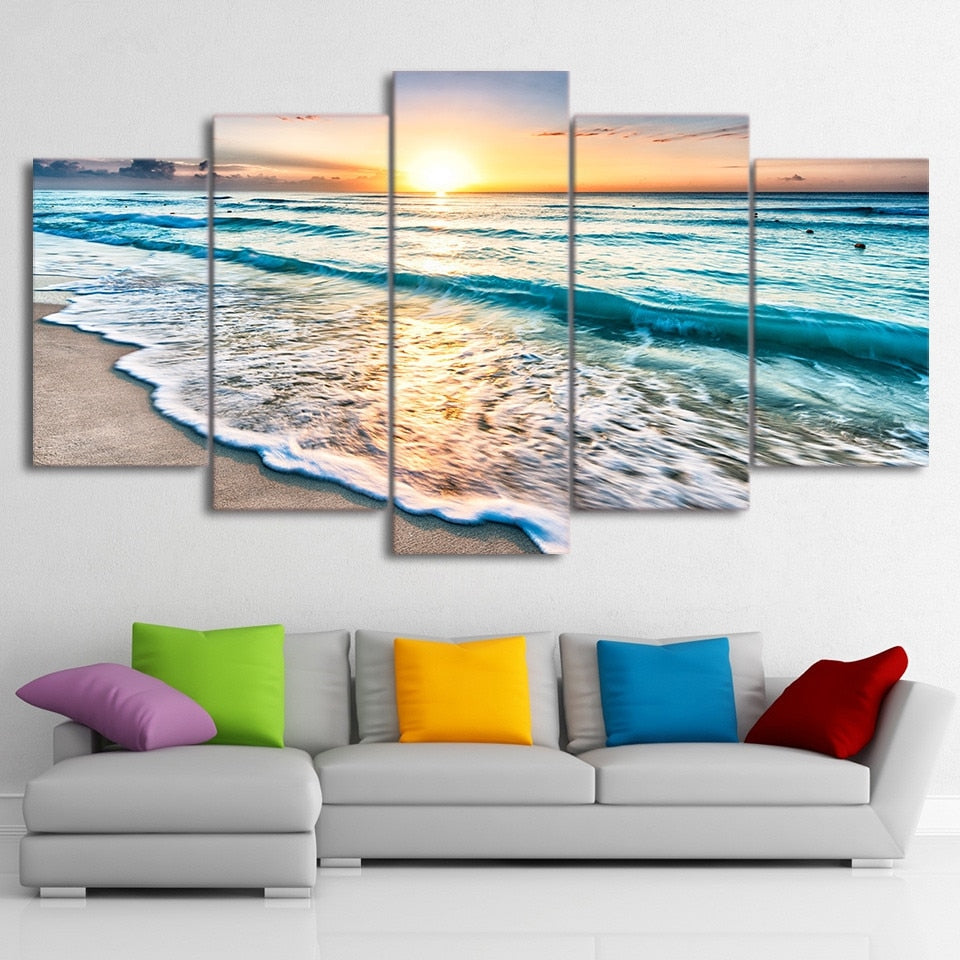 Canvas Painting Wall Art Home Decor Pictures 5 Pieces Seascape Sunset Beach Sea Wave Poster Living Room Unframed