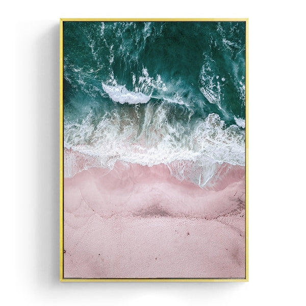 Ocean Landscape Canvas Poster Nordic Style Beach Pink Bus Wall Art Print Painting Decoration Picture Scandinavian Home Decor