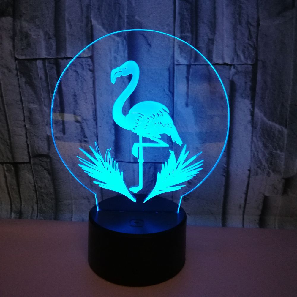 3D Led Creative Usb Animal Flamingos 7 Colorful Visual Art Table Lamp Decoration Night Light Home For Bedroom Lighting Fixture