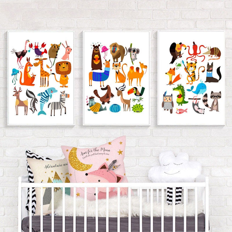 Nordic Posters Prints Wall Art Canvas Painting Animal Lion Fox Giraffe Zebra Raccoon Deer Pictures Baby Room Home Decor Modular