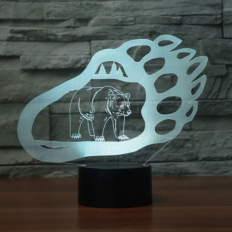 LED 3D Lamp Illusion Touch Polar Bear Paw Night Light Auto For Home Bedroom Sleeping Decoration USB Atmosphere Christmas Gifts