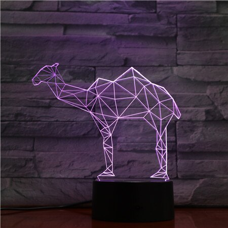 3D Led Bedside Night Light Shape Geometric Camel Usb Table Lamp 7 Color Change Home Decor Bedroom Sleep Lighting Fixture Gifts