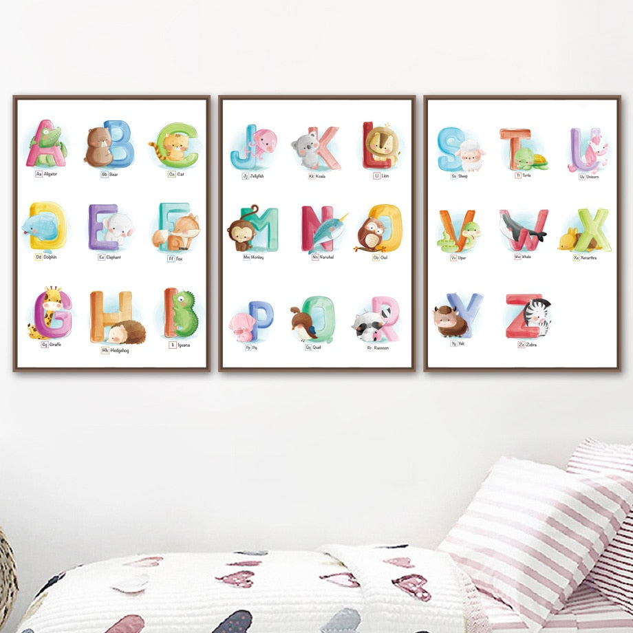 Wall Art Canvas Nordic Poster Print 26 Letters Animals Alphabet Deer Painting Modular Pictures Frame Baby Kids Room Home Decor