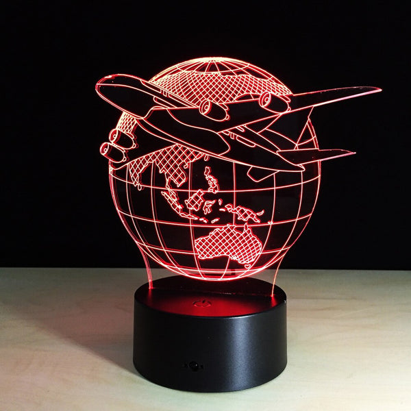 3D Led Creative Usb Airplane Globe 7 Colorful Visual Artwork Table Lamp Decoration Night Light Bedroom Bedside Lighting Fixture