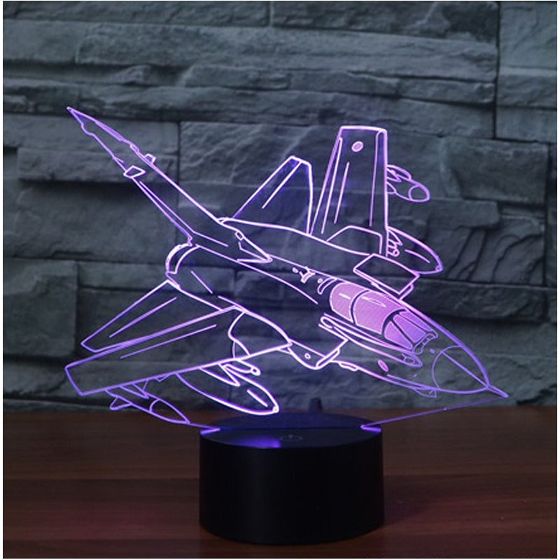 3D Led Visual 7 Colors Change Bomber USB Night Light Desk Lamp Art Decoration For Bedside Sleep Lighting Creative Fixture Gift