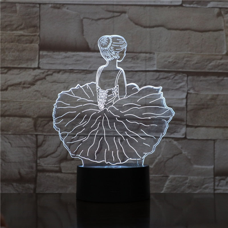 Creative 3D LED Birthday Night Lights Ballerina Girl USB Touch Lamp Kid Bedroom Lighting Sleeping Table Lamp For Home Decoration