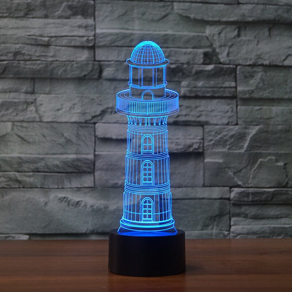 Usb 7 Color Changing Lighthouse 3D Led Nightlight Modelling Touch Button Desk Lamp Light Fixture Home For Kid Bedroom Decoration
