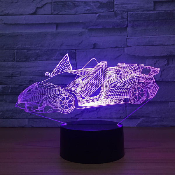 3D Night Light 7 Colors Change Sports Car LED Desk Table Lamp Artwork Home Child Bedroom Sleeping Decoration Holiday Party Gifts