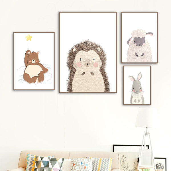 Nordic Posters Prints Wall Art Flower Sheep Rabbit Hedgehog Bear Star Canvas Painting Cartoon Modular Pictures Kids Room Decor