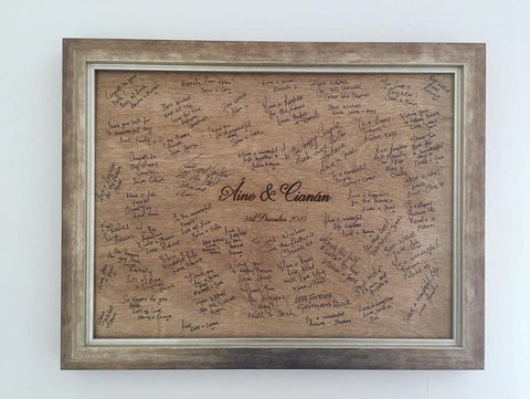 Bespoke alternative wedding guest book board