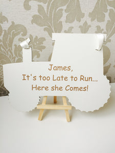 Personalised Tractor Page Boy Wedding Sign