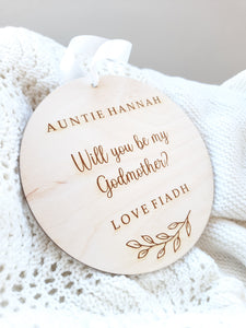 Will you be my Godmother or Godfather personalised plaque