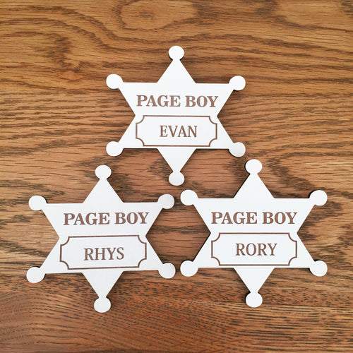 Page Boy personalised badge