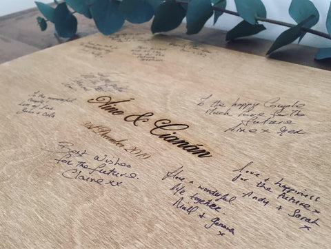 Wooden bespoke guest book board