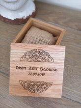 Load image into Gallery viewer, irish engraved wooden wedding ring box