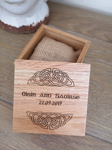 irish engraved wooden wedding ring box