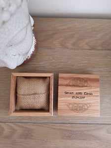 bespoke wooden Irish wedding ring box
